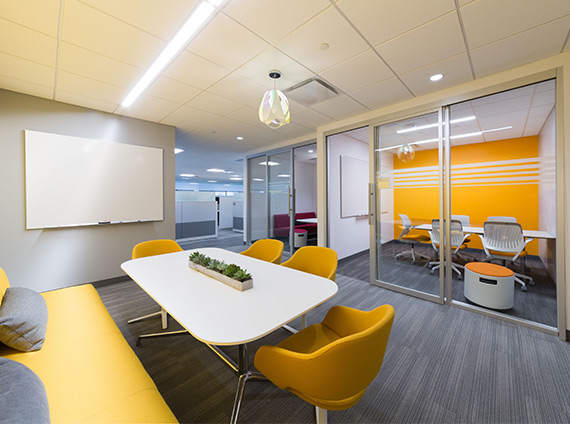akamai's westford, ma office features ancilllary furniture