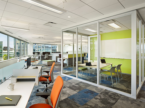 biogen's cambridge, ma office space features demountable walls