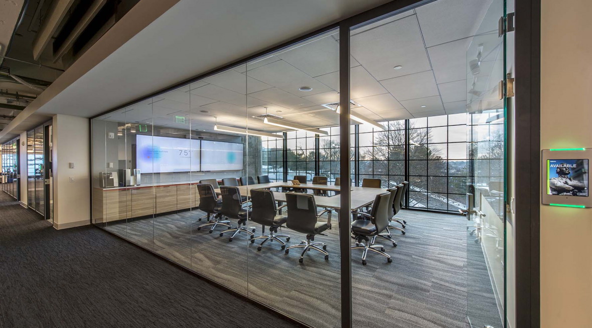 conference room with demountable glass walls