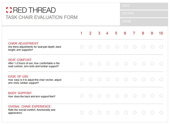 Red Thread Task Chair Evaluation Form
