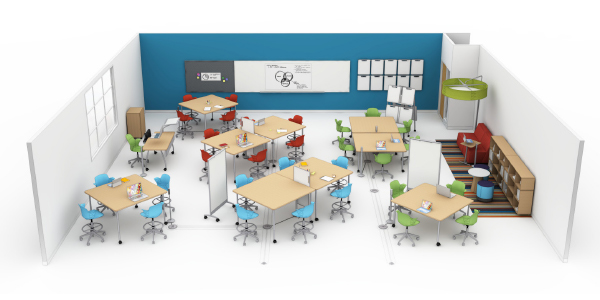 steelcase education active learning classroom that encourages group collaboration