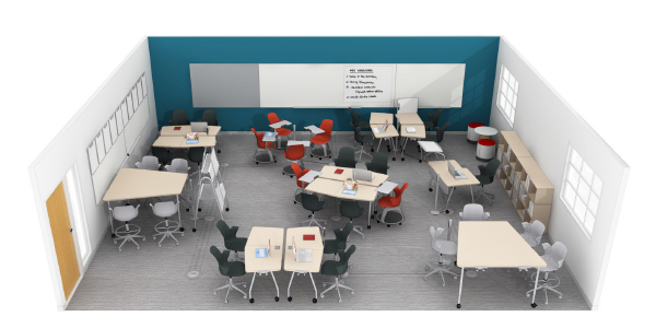 steelcase education active learning classroom with mixed seating and tables and whiteboards