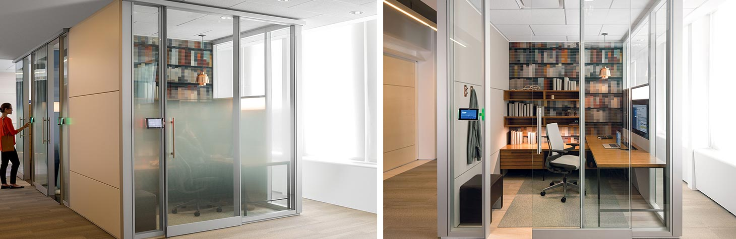 Focus room built with demountable walls and film on the glass for privacy