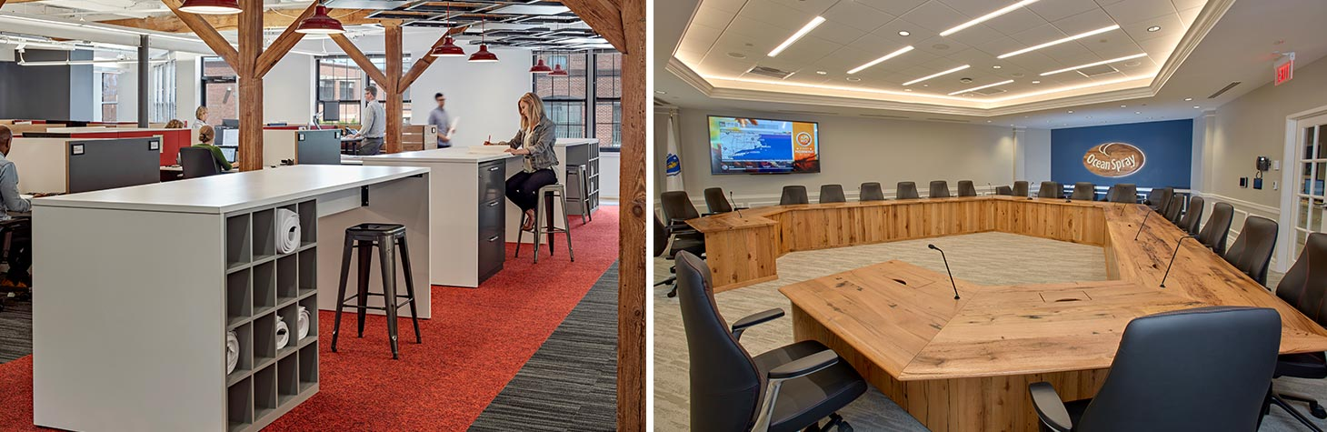 Examples of functional custom furniture designs within office settings