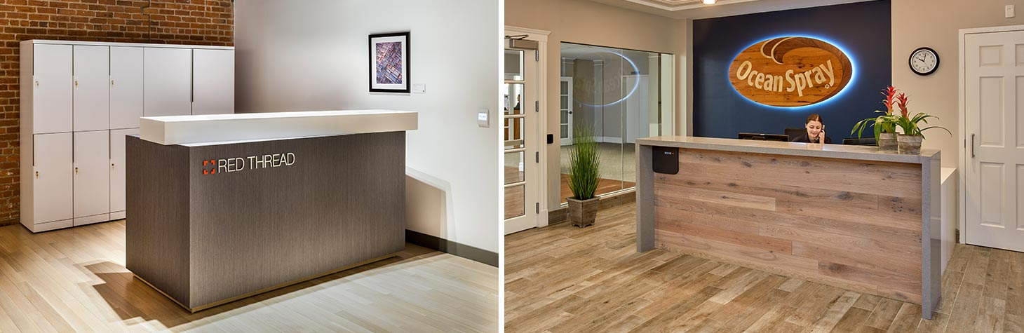 Examples of reception desks within office environments