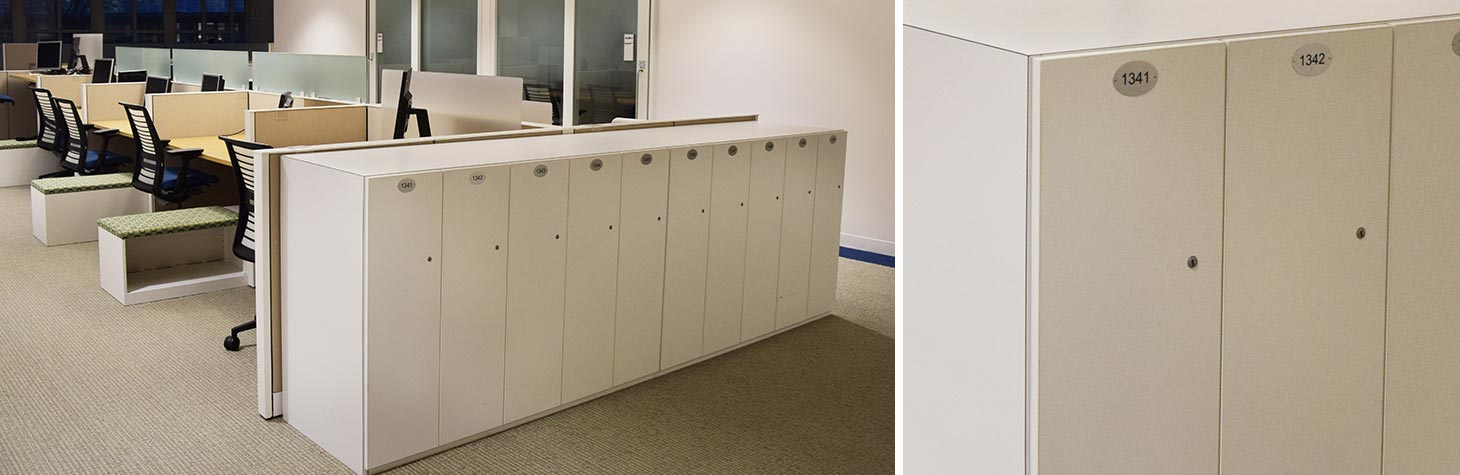 custom lockers at the end of a bank of workstations