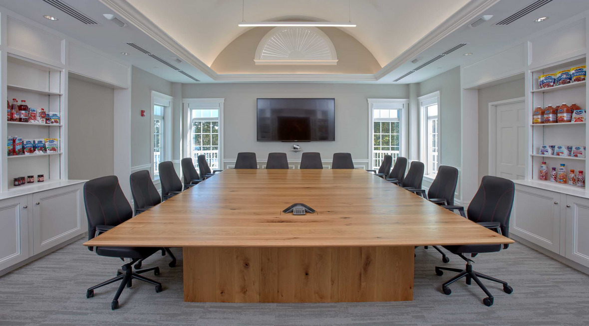 library meeting room with wood table