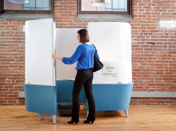 Woman entering Mamava Mini lactation room furnishing