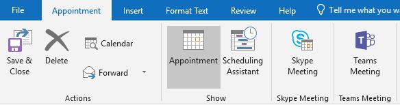 Screenshot of scheduling a meeting