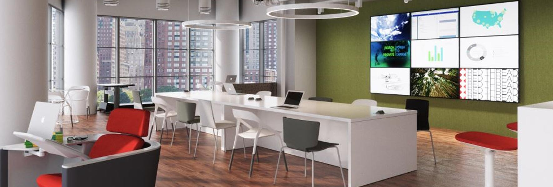 office interior rendering showing office furniture design capabilities
