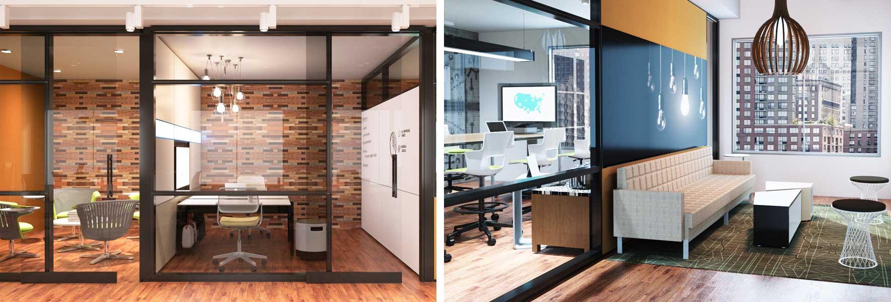 rendering showcasing office furniture design