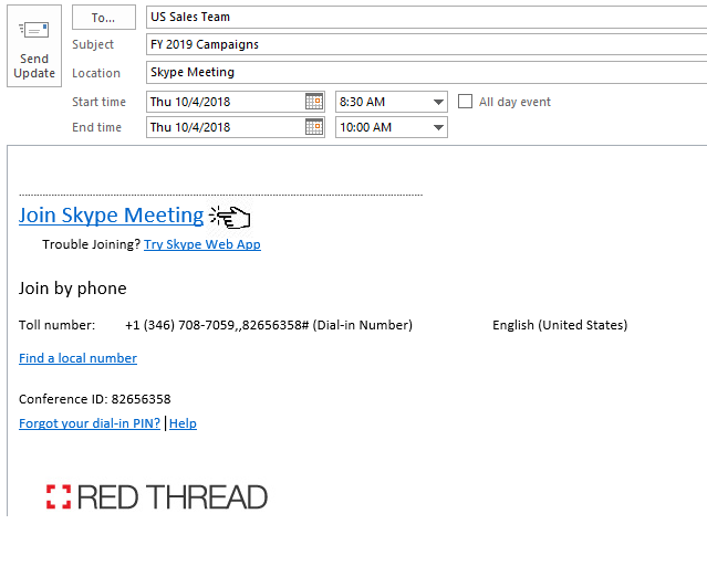 Screenshot of a user clicking to join a meeting