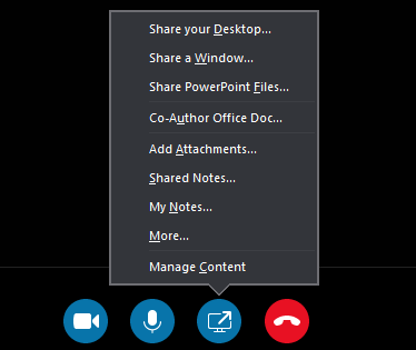 Screenshot of a user sharing content during a conference call