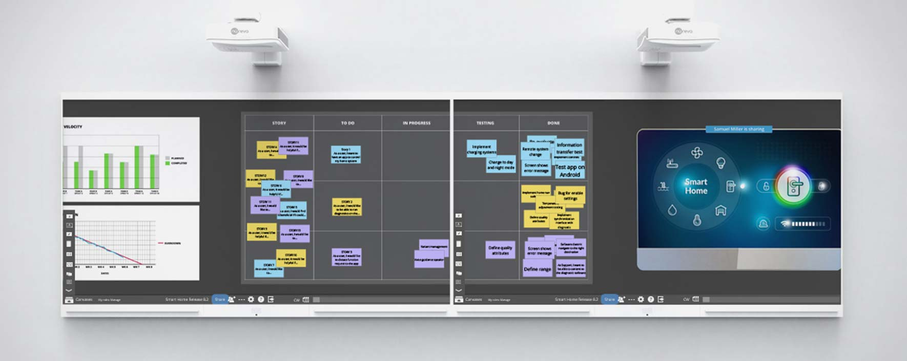 Nureva Wall is an interactive collaborative projected whiteboard