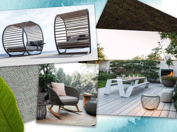 A mix of outdoor office furniture
