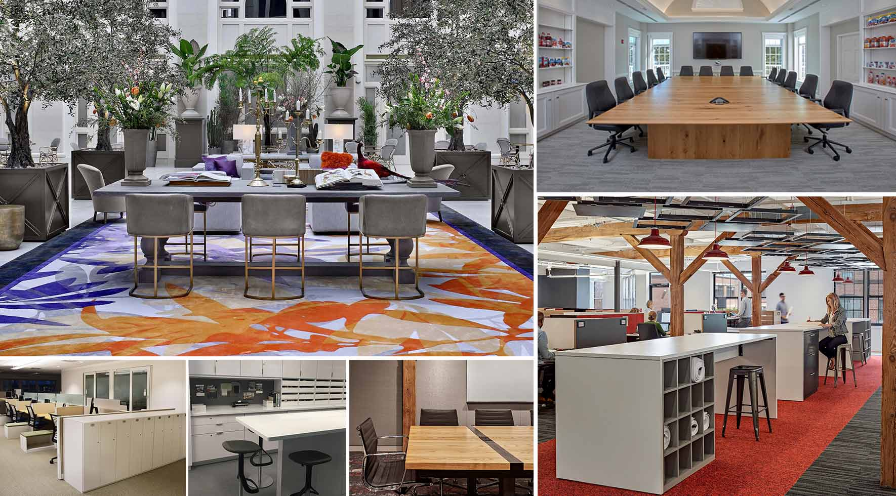 Collage of custom office furniture solutions by Create by Red Thread