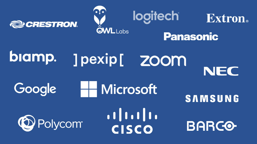 Logos representing Red Thread's AV manufacturer partners