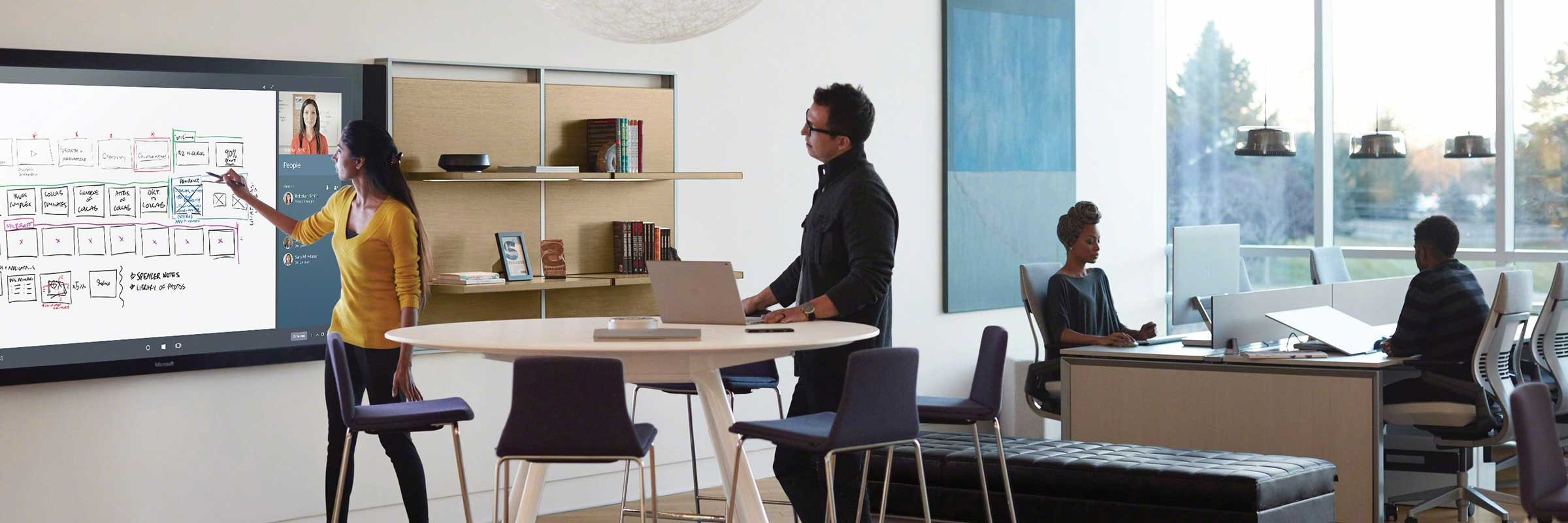 people collaborating in a transformed workplace