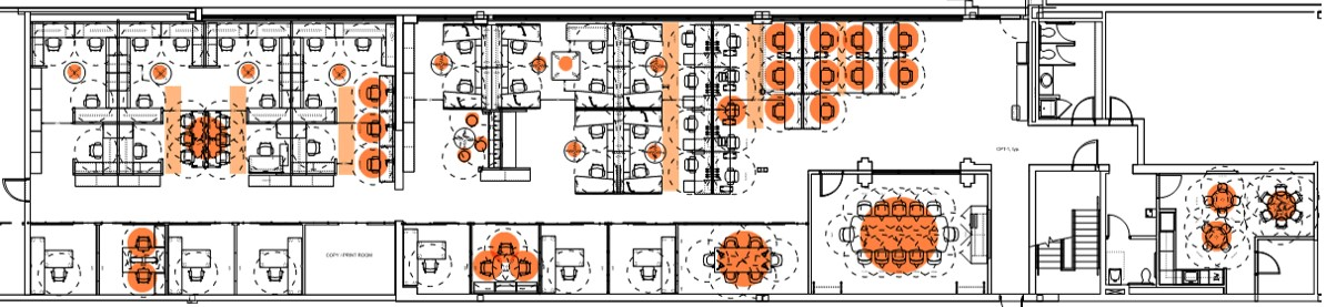 Classic company culture floorplan with hot zones