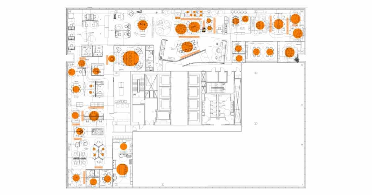 Progressive company culture floorplan with hot zones