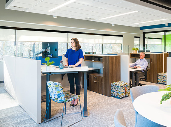 workstations in the open plan